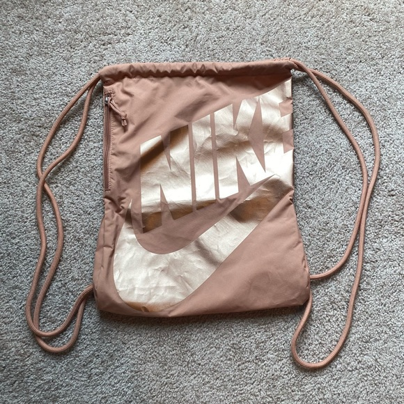 Rose Gold Nike Drawstring Bag